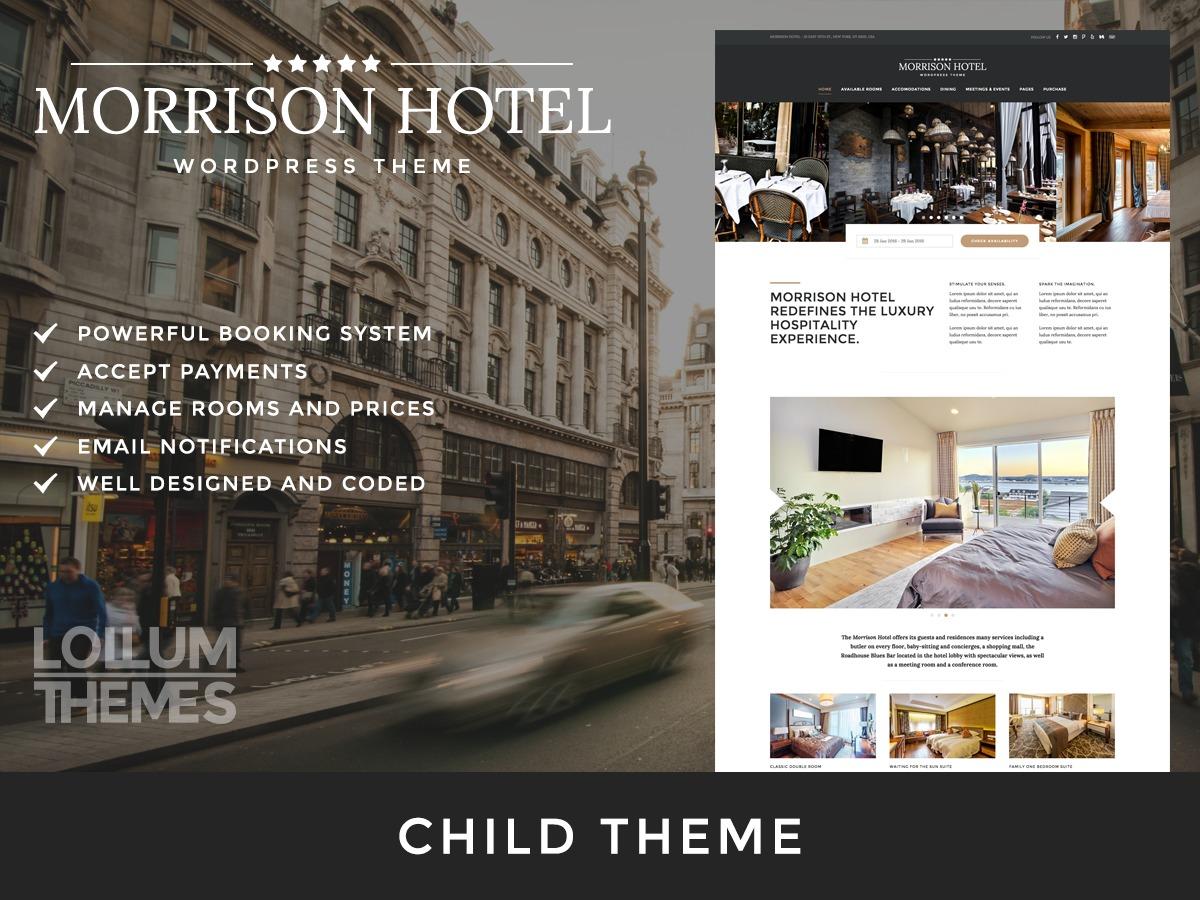 Morrison Hotel Child best hotel WordPress theme