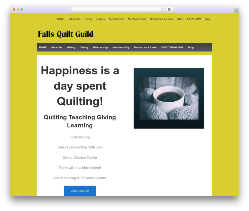 Responsive free WP theme - fallsquiltguild.org