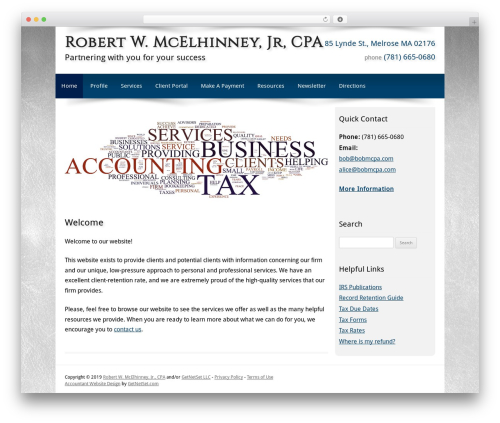 Customized WordPress template for business - mcelhinneycpa.com