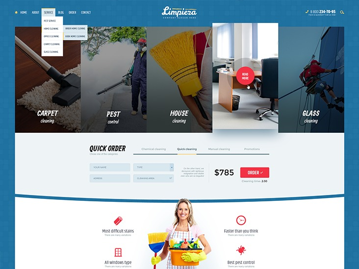 Best WordPress theme Limpieza Wordpress Theme