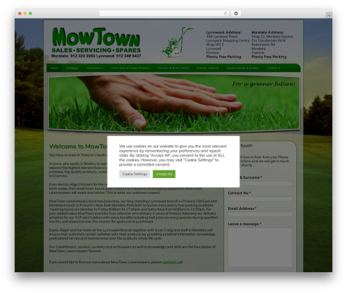 Clean Style One landscaping WordPress theme - mowtown.co.za