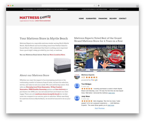Mattress Experts WordPress store theme - mattressexpertssc.com