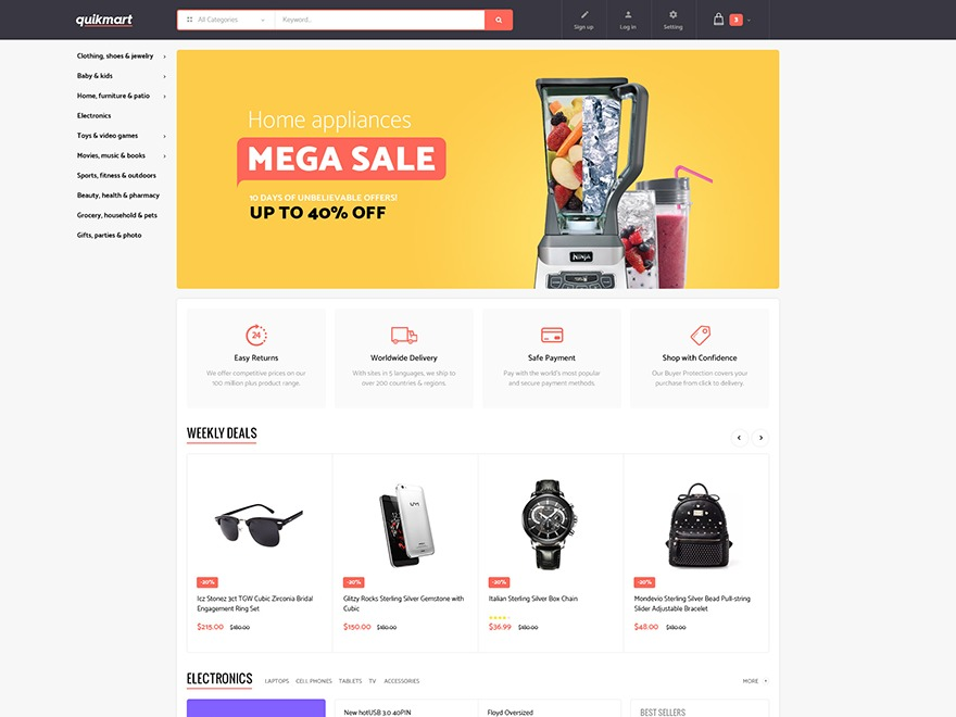 quickmart WordPress shop theme