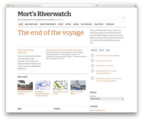 Reportage best WordPress theme - mortsriverwatch.com