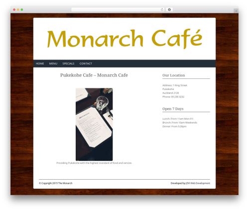 Fresh And Clean WP theme - monarchcafe.co.nz