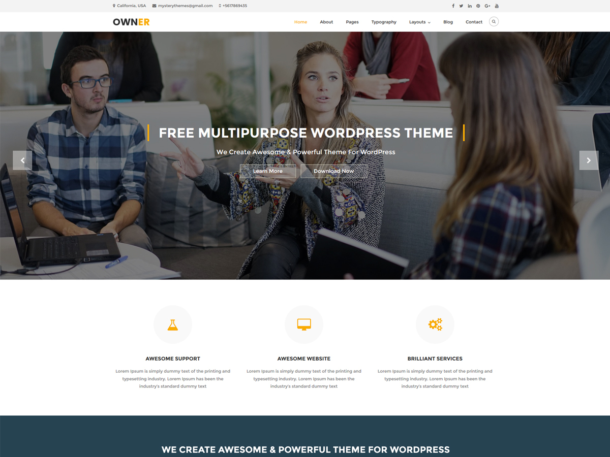 Owner free WordPress theme