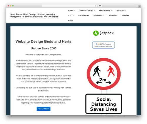 Responsive best free WordPress theme - mattporterwebdesign.co.uk