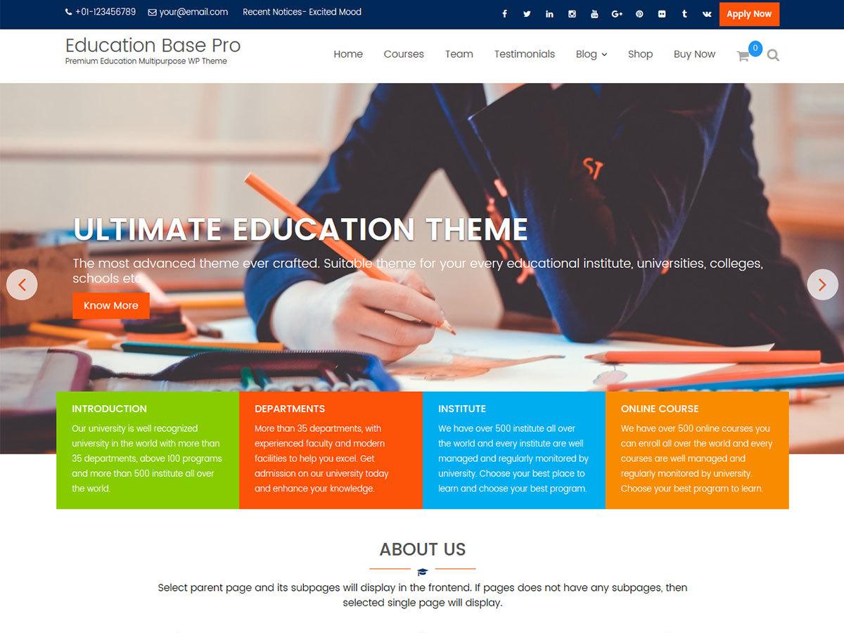 WordPress theme Education Base Pro