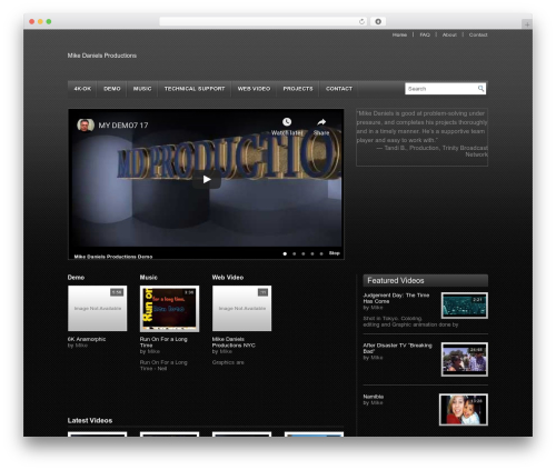 Video WordPress movie theme - mikedanielsproductions.com