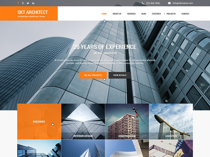 Architect Pro WordPress template for business
