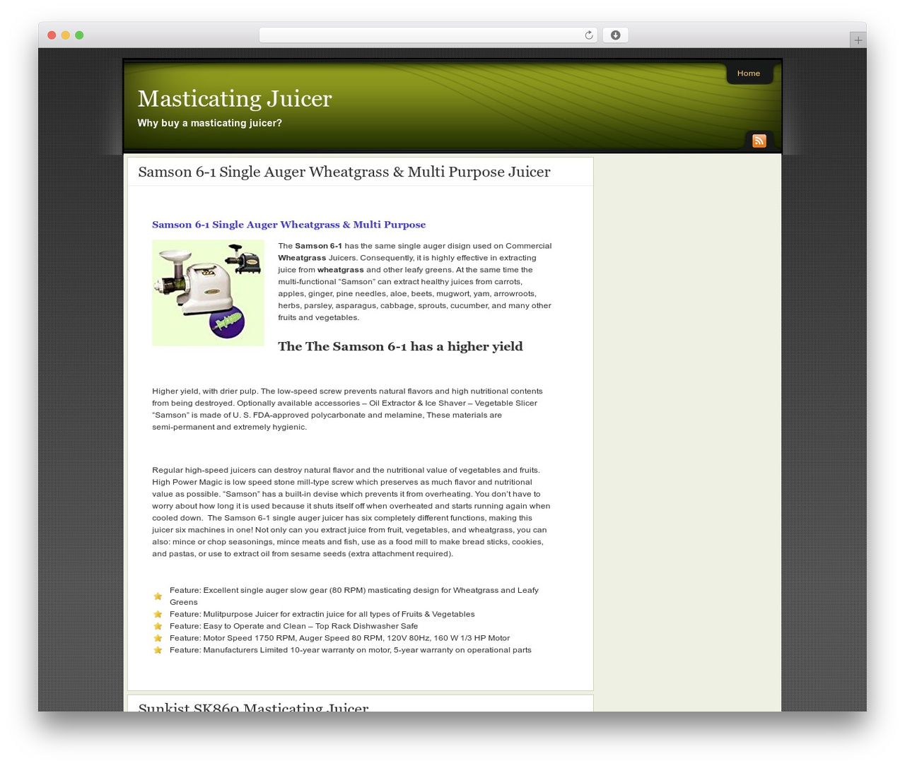 WordPress website template Affiliate Internet Marketing theme - masticatingjuicerz.net