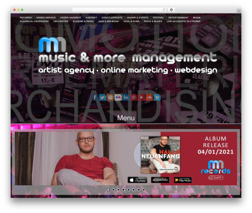 Fifteen Plus best WordPress template - music-and-more-management.de