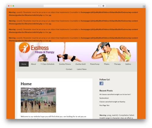 Gumbo fitness WordPress theme - mkzumba.co.uk