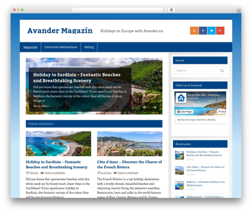 Smartline child WordPress travel theme - magazine.avander.eu