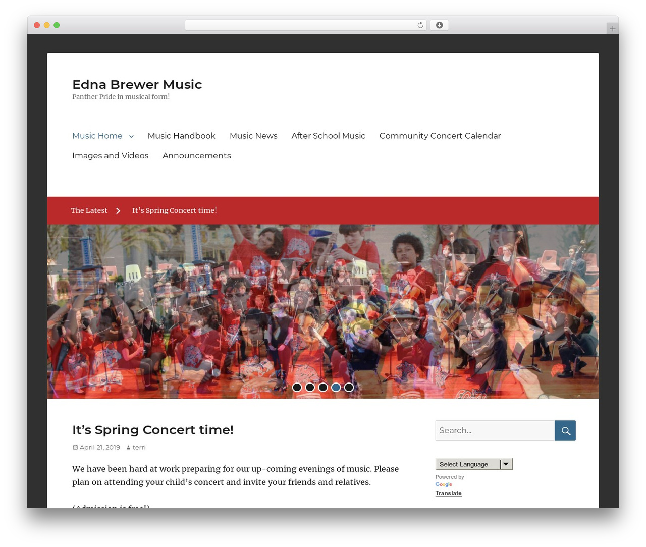 Clean Education Pro WordPress page template - music.ednabrewer.net