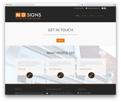 Flawless WordPress theme - md-signs.co.uk