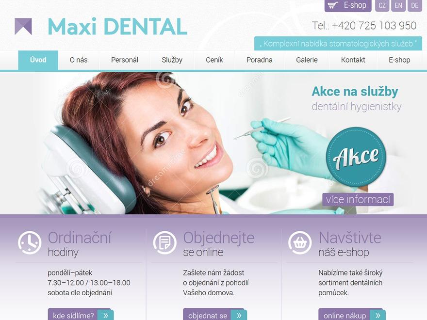 Maxi DENTAL s.r.o. WordPress page template