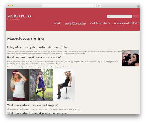 Uniqueness Red WordPress page template - modelfoto.myfoto.dk