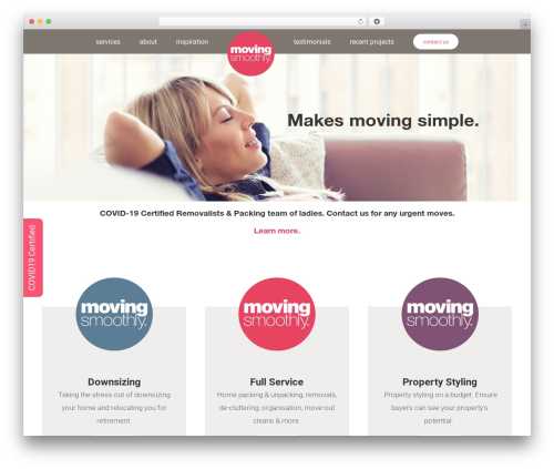 Avada company WordPress theme - movingsmoothly.com.au