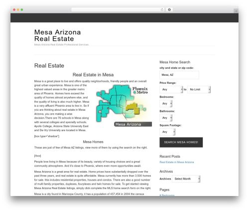 Magazine real estate template WordPress - mesaarizonarealestate.com