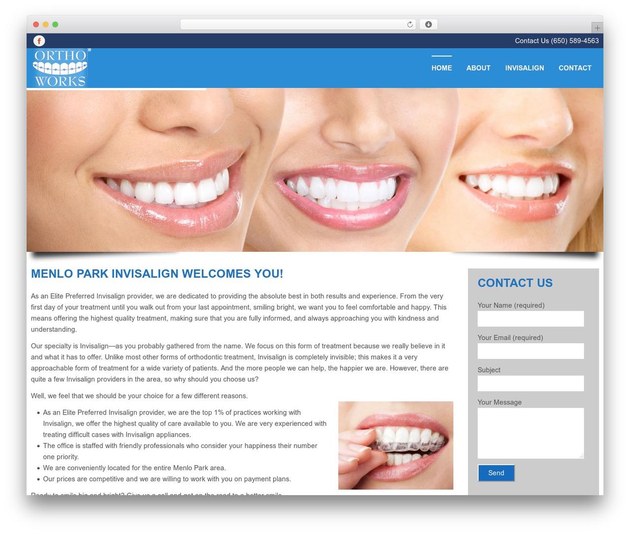 WordPress theme Swatch - menloparkinvisalign.com