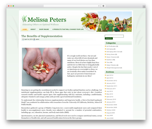 Healthy Lifestyle WP template - melissapeters.net