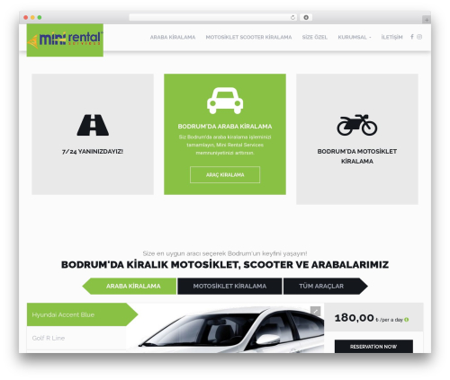 RentIt top WordPress theme - motosikletkiralama.org