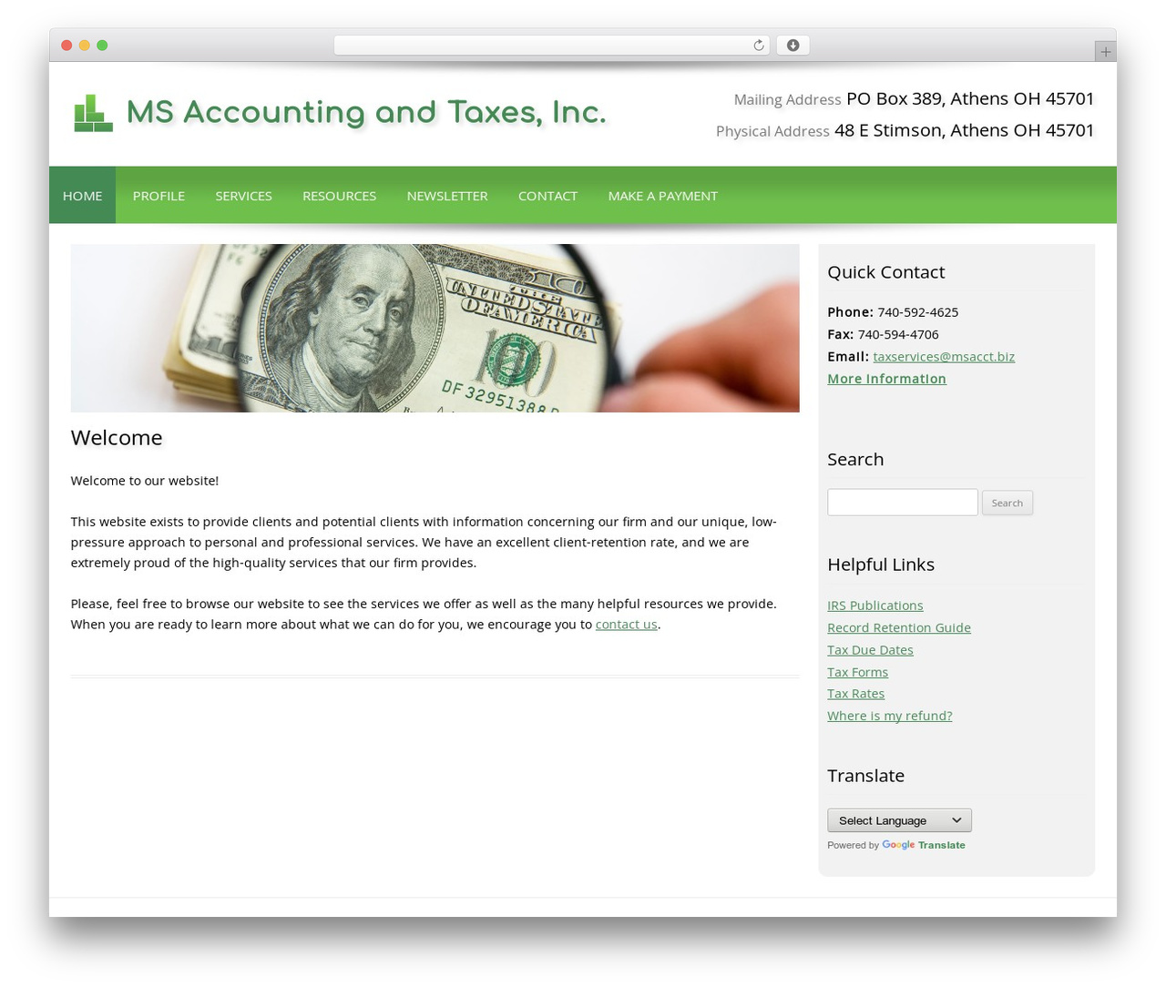 WP theme Customized - msacct.biz
