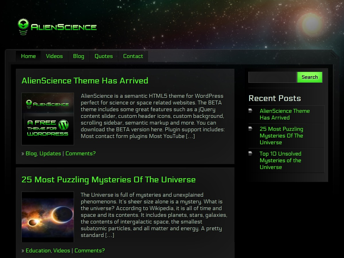 AlienScience WordPress blog template