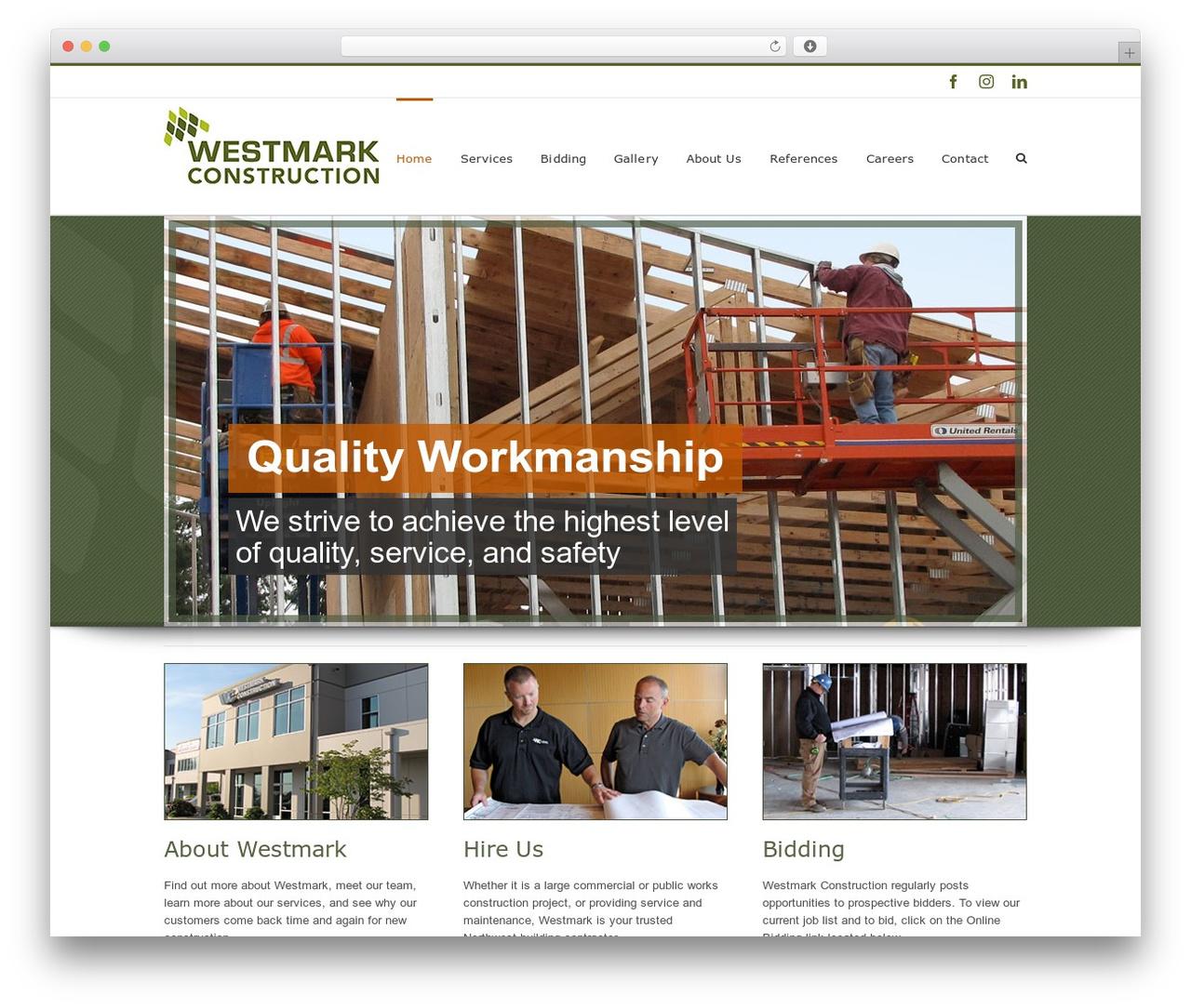 Avada company WordPress theme - westmarkconst.com