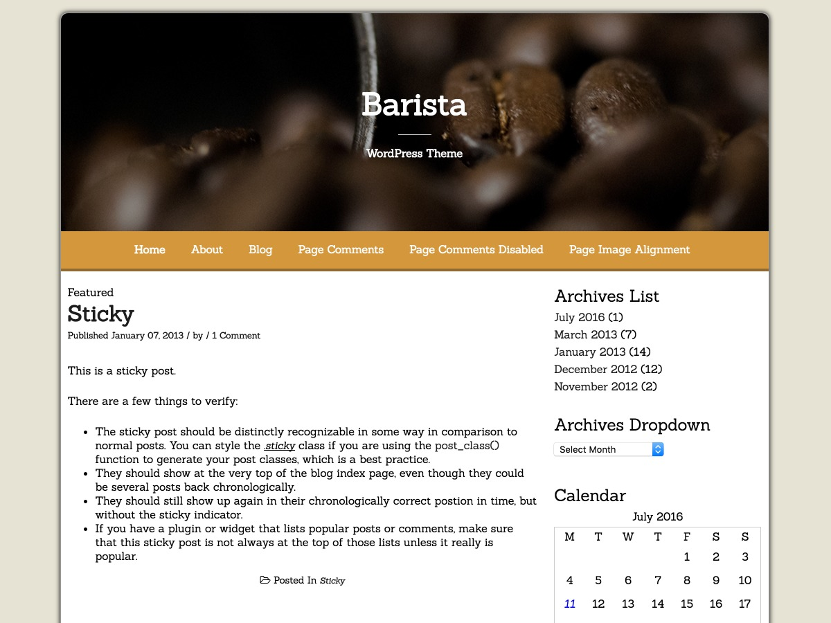 Barista best free WordPress theme