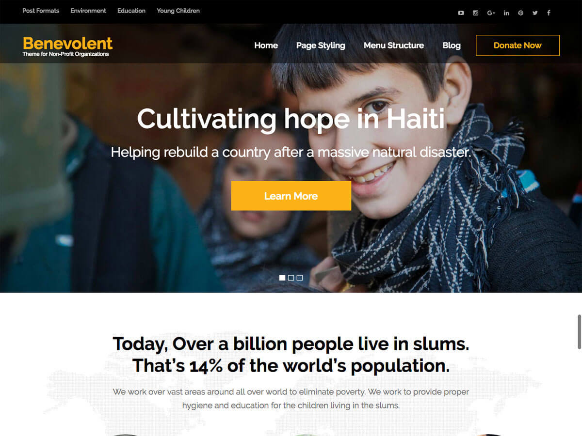Benevolent free WP theme