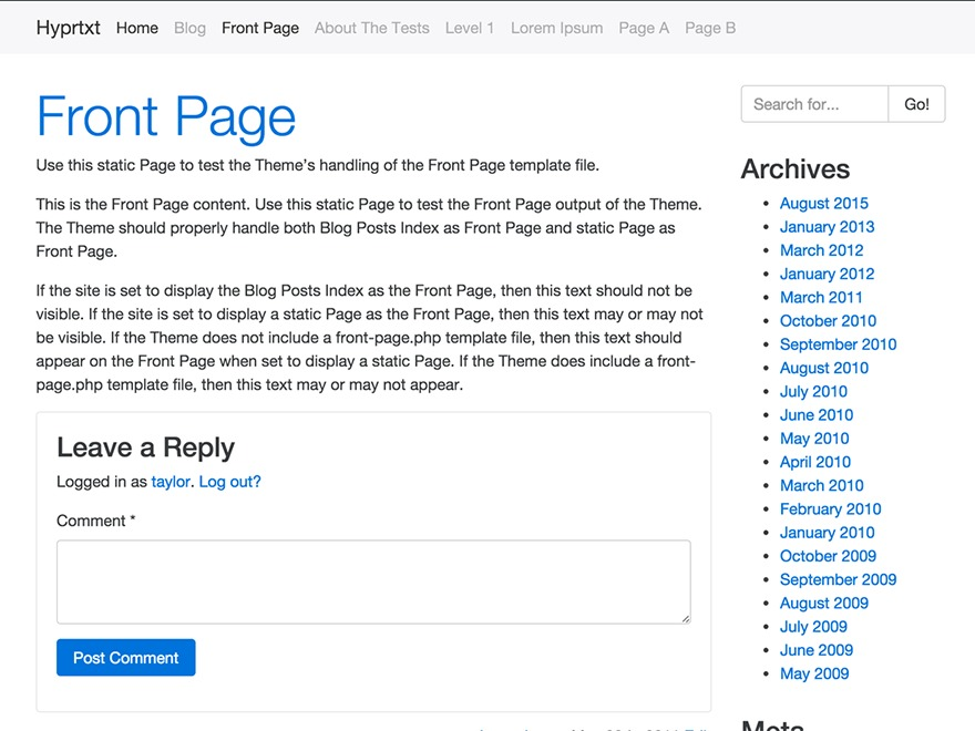 Bootstrap Four WP template