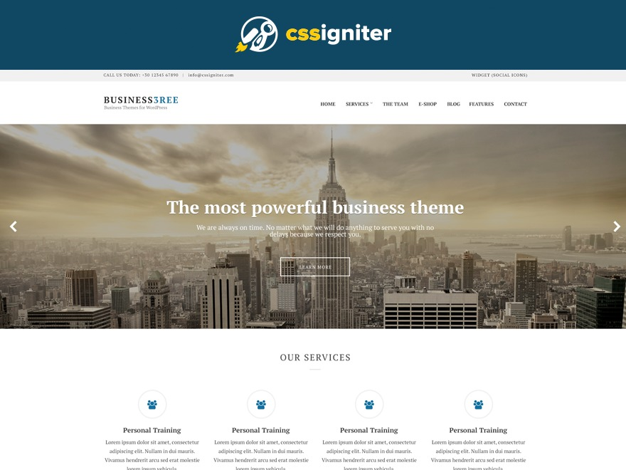 Business3ree company WordPress theme