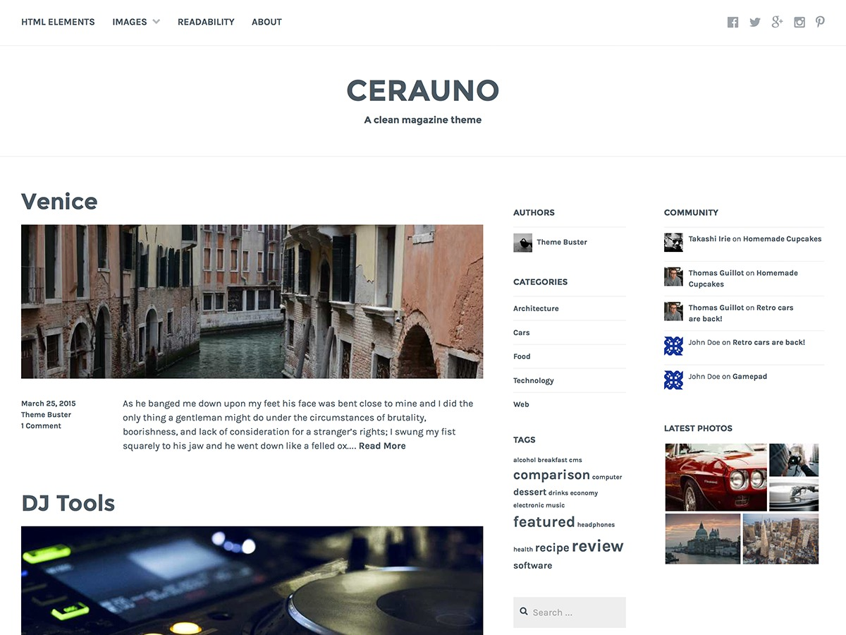 Cerauno WordPress gallery theme
