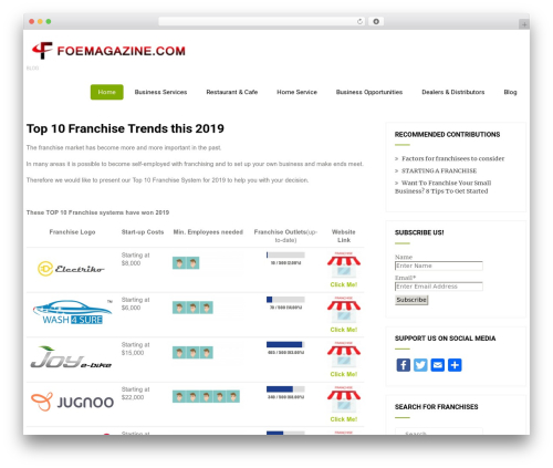 Eco Friendly Lite WordPress magazine theme - foemagazine.com
