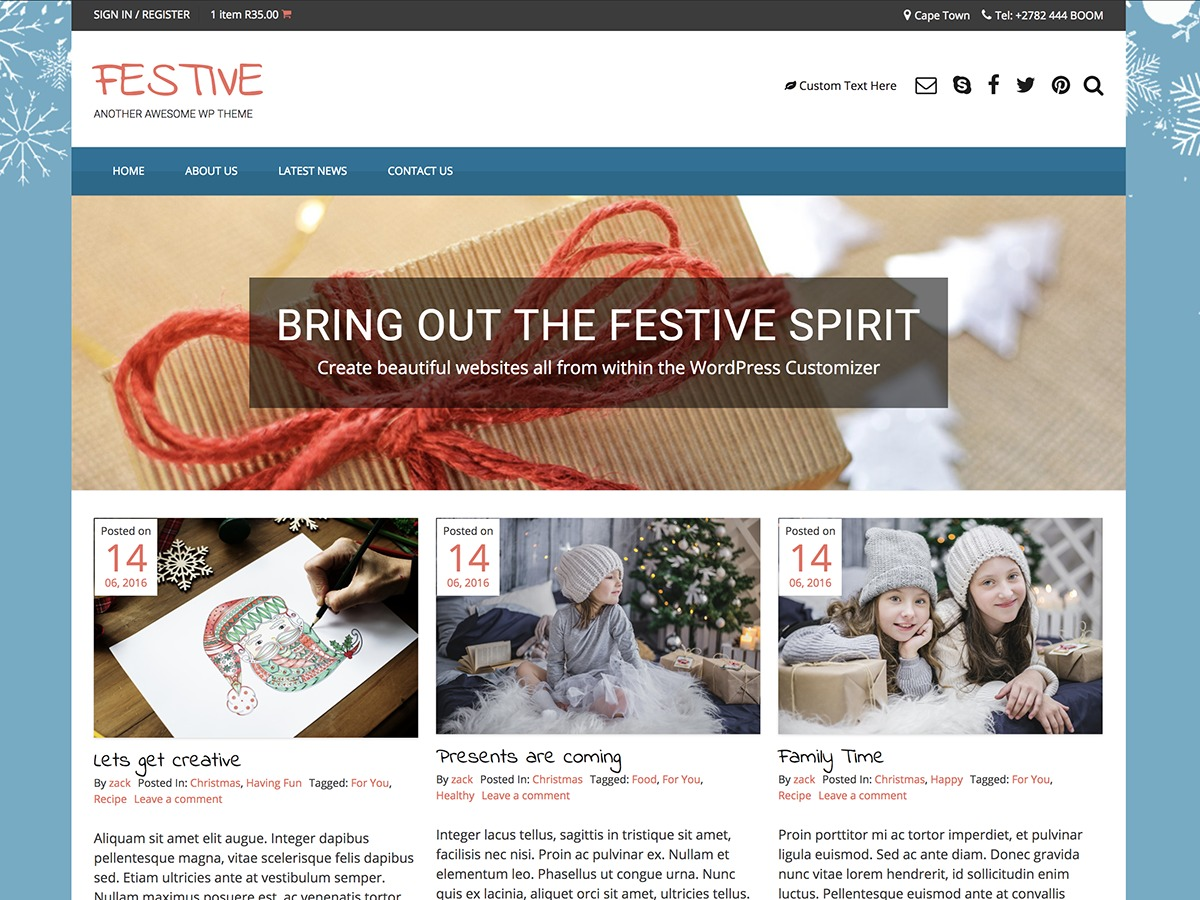 Festive free WordPress theme