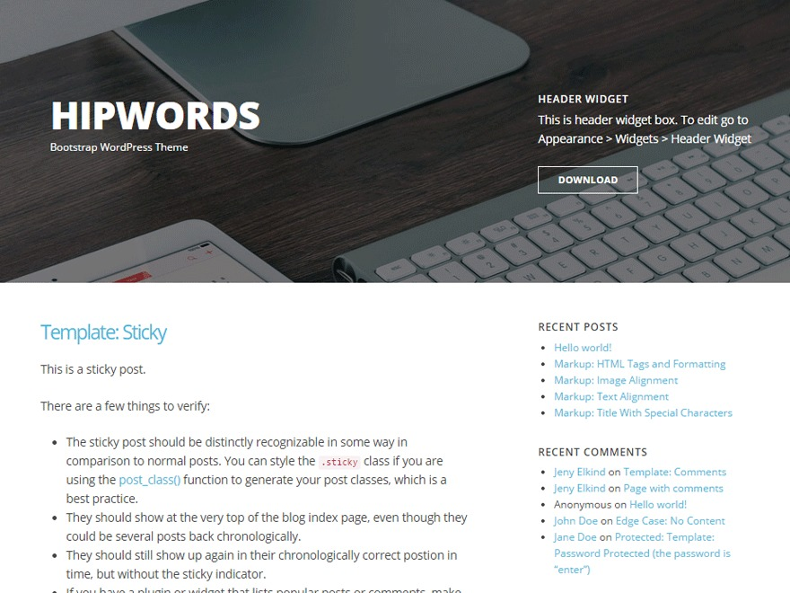 HipWords WordPress blog theme
