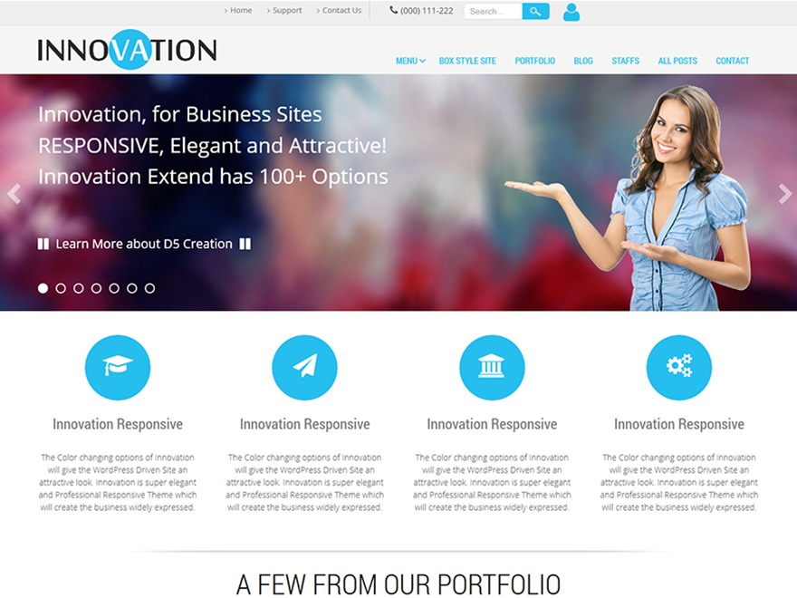 Innovation Extend WordPress portfolio template