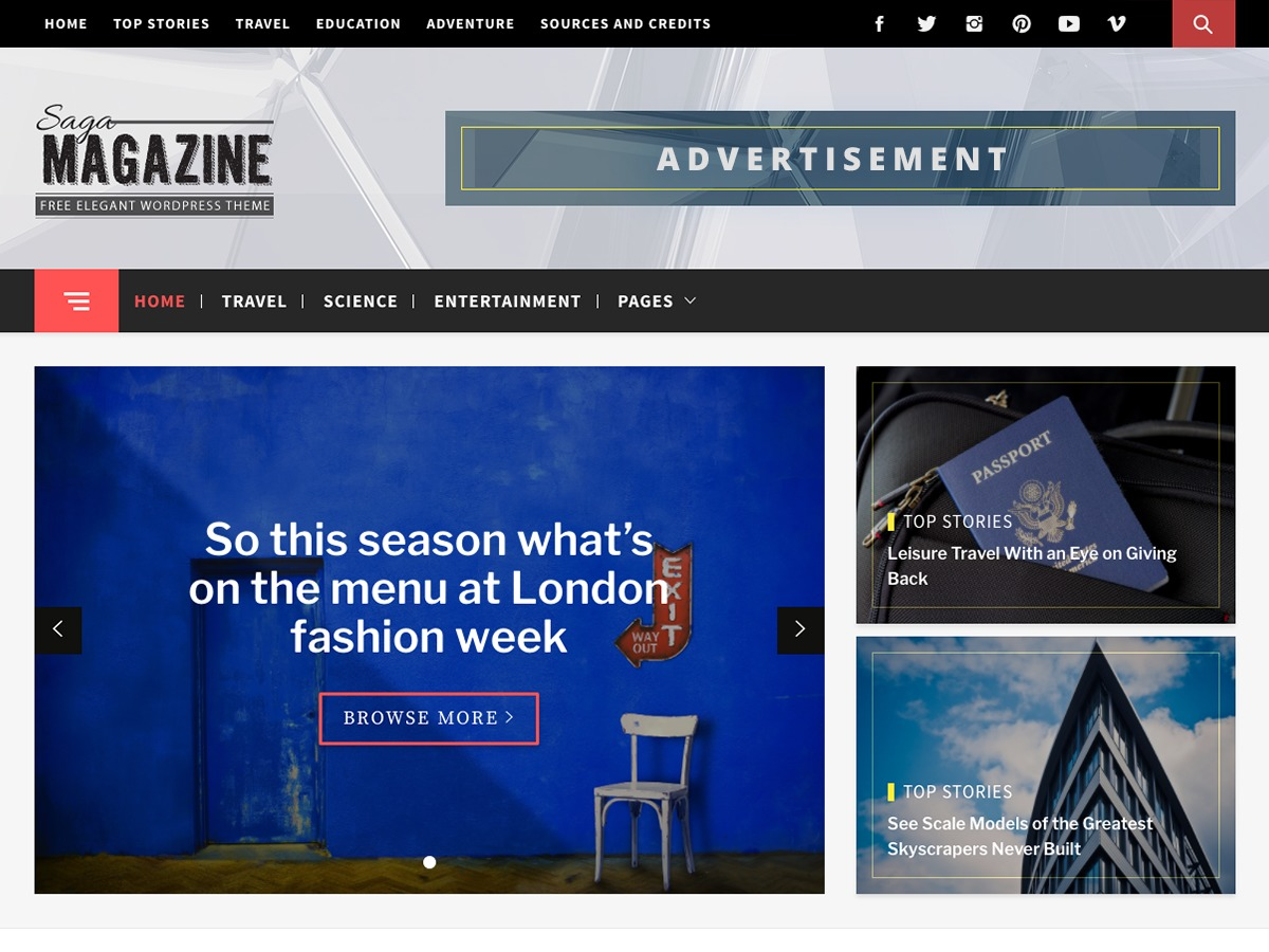 Magazine Saga best WordPress magazine theme