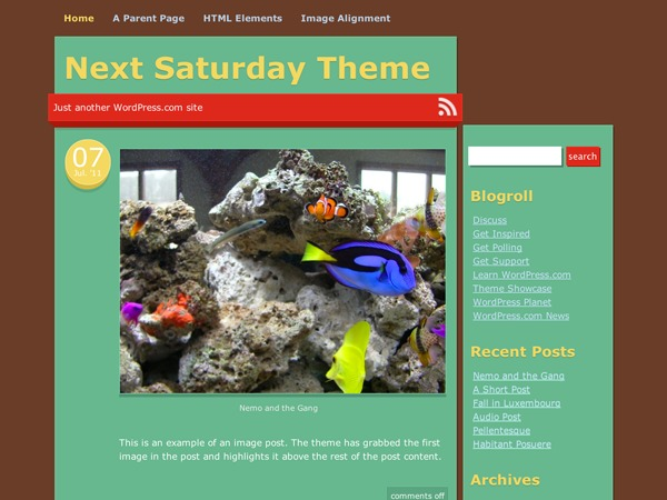 Next Saturday WordPress blog template