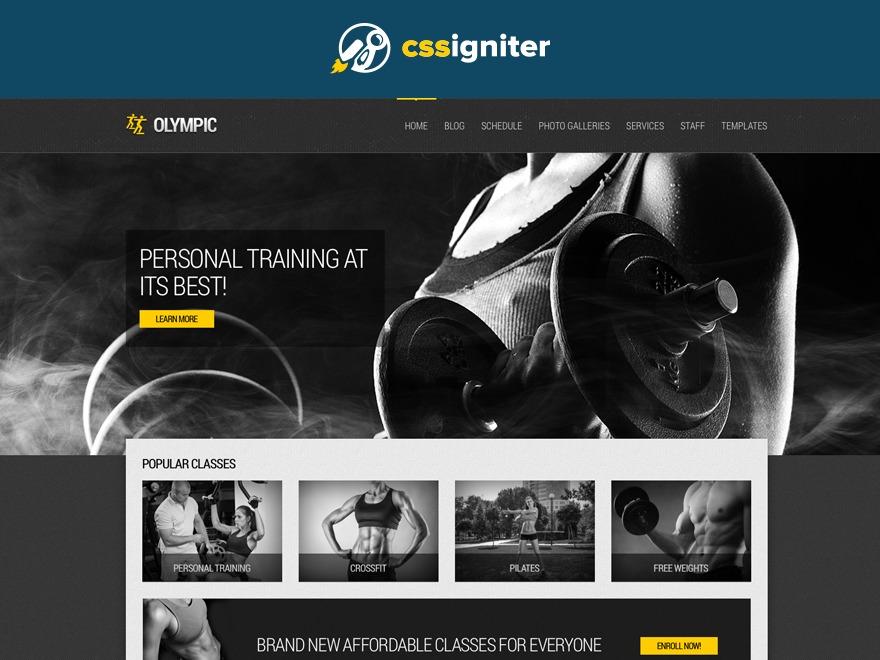 Olympic fitness WordPress theme