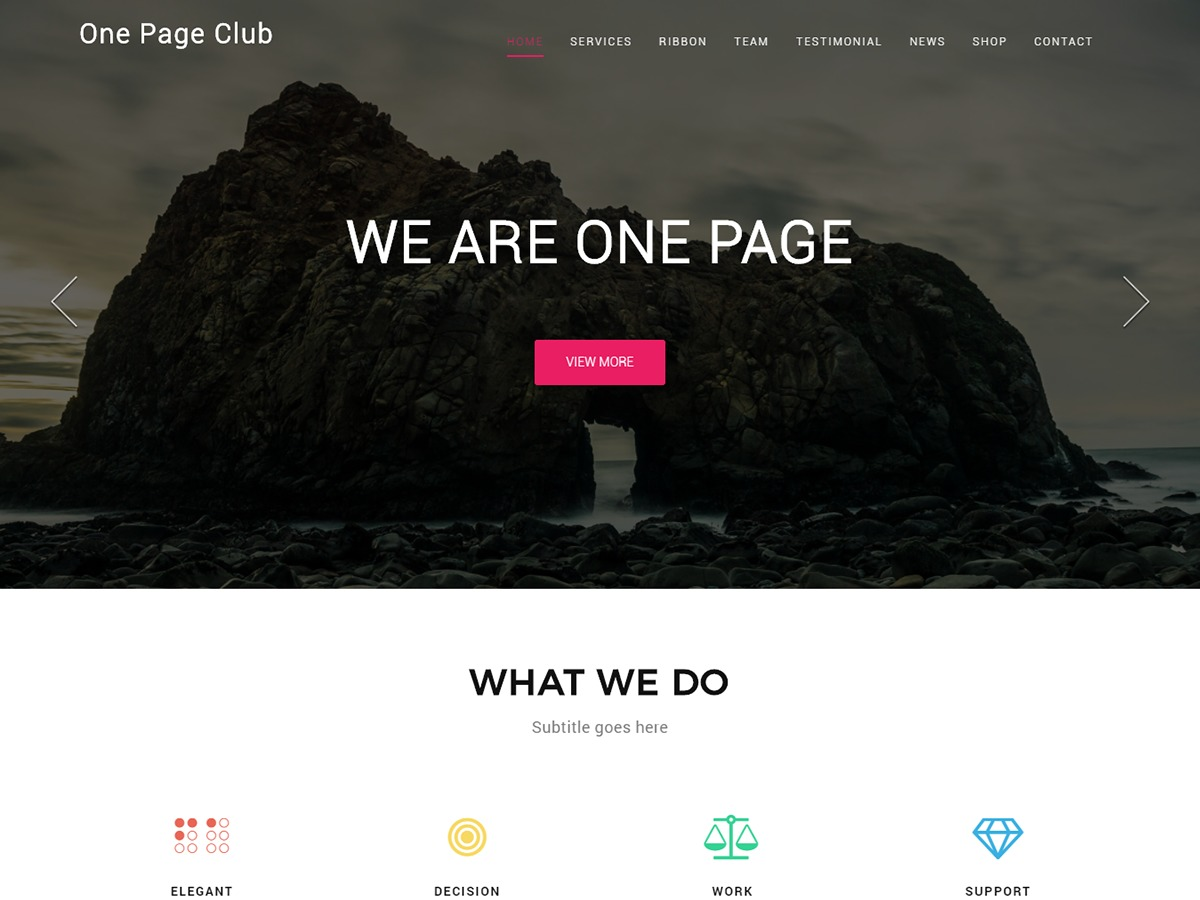 One Page Club free WordPress theme