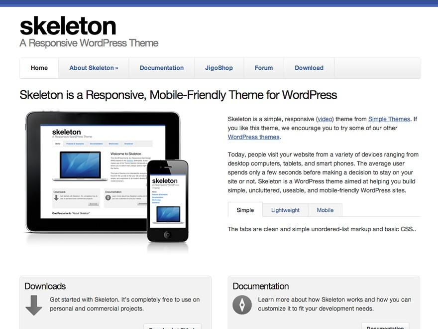 Smpl Skeleton WordPress theme design