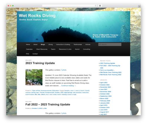 Twenty Eleven best free WordPress theme - wetrocksdiving.com