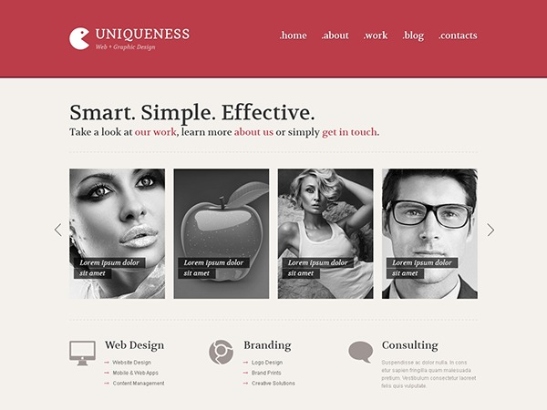 Uniqueness Red WP theme