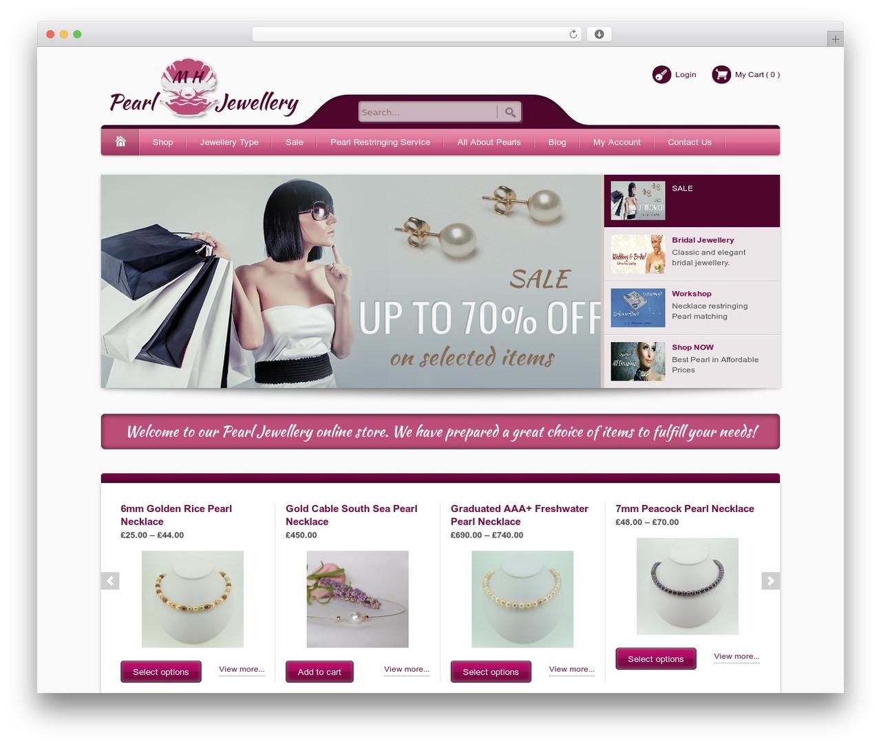 Bellissima best WordPress template - mhpearljewellery.co.uk