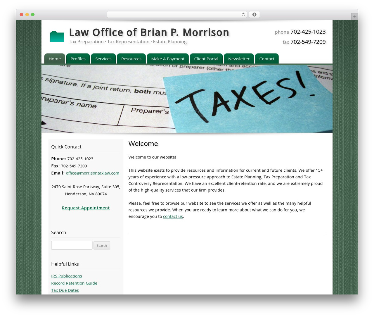 Customized WordPress theme - morrisontaxlaw.com