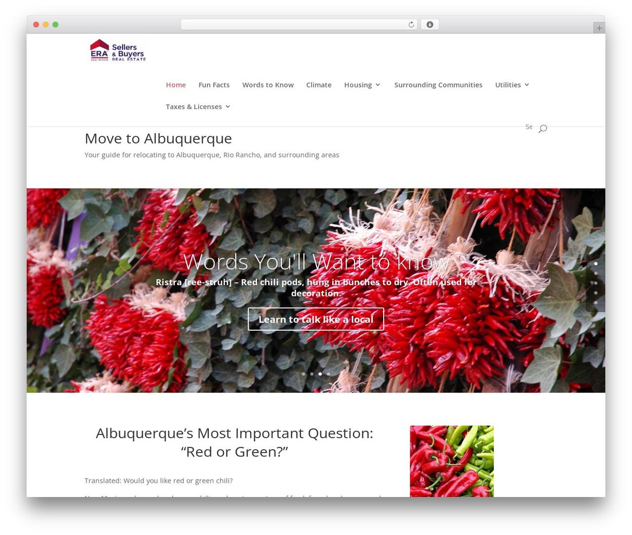 Divi premium WordPress theme - movetoalbuquerque.com