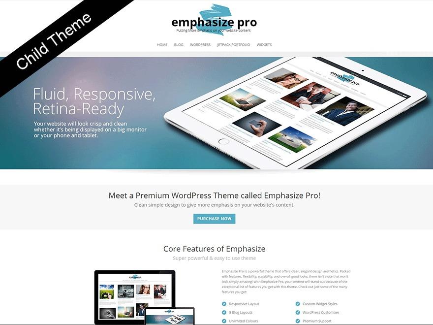 Emphasize Pro Child theme WordPress